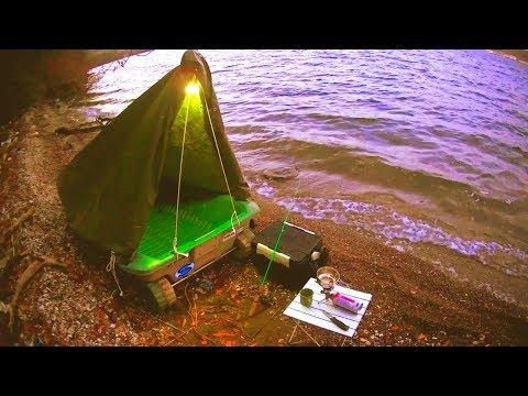 小舟で釣りして食べて露天風呂に入って小舟テント立てたよ!