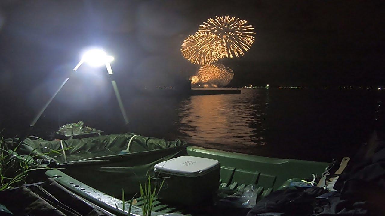 花火を観ながら小舟露天風呂に入って小舟テントに泊まったよ!