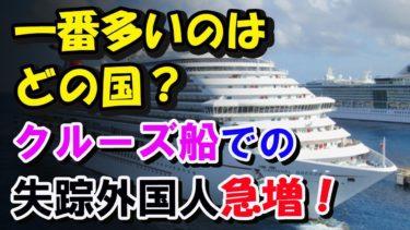 【海外の反応】クルーズ船で日本に入国、失踪する外国人が急増!一番多い国は…